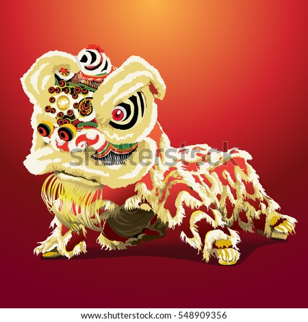 Chinese lion cartoon, vector illustration