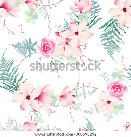 Chinese magnolia, roses and fern light seamless vector pattern - stock vector