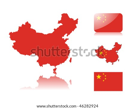 Chinese map including: map with reflection, map in flag colors, glossy and normal flag of China. - stock vector