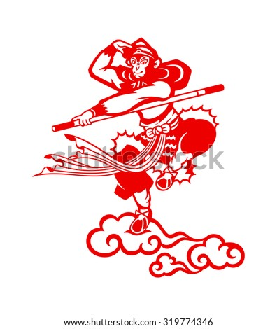 Chinese Monkey king Sun Wukong paper-cut - stock vector
