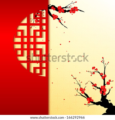 Chinese New Year Cherry Blossom Greeting Card - stock vector