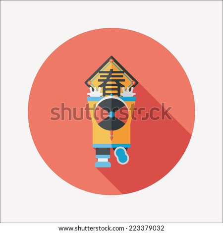 "Chinese New Year flat icon with long shadow,eps10, the little boy to stick couplets, Chinese festival couplets means "" wish Spring comes."" - stock vector"