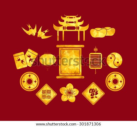 Chinese New Year golden geometrical Icons