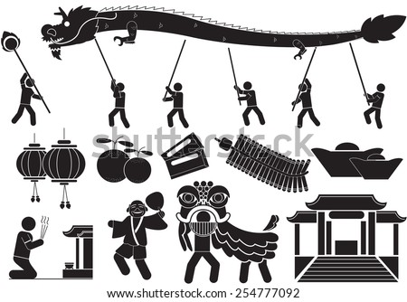 Chinese New Year icons - silhouette - stock vector