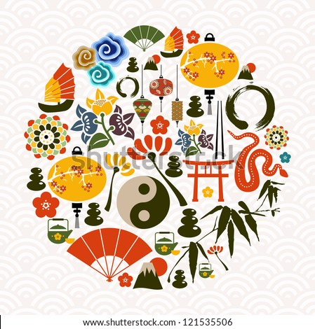 Chinese New Year of the Snake icon set globe composition. Vector illustration layered for easy manipulation and custom coloring. - stock vector
