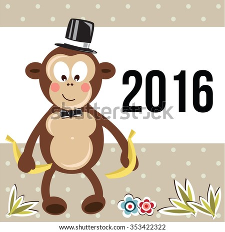 Chinese new year 2016. Year of the Monkey. Kids Illustration - stock vector