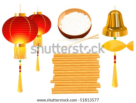 Chinese objects, vector illustration - stock vector