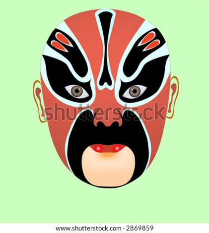 Chinese opera mask - stock vector