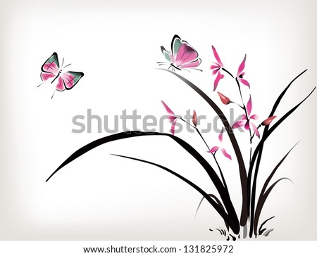 Chinese Orchid and butterfly ink style - stock vector