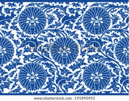 Chinese oriental floral ornament - stock vector