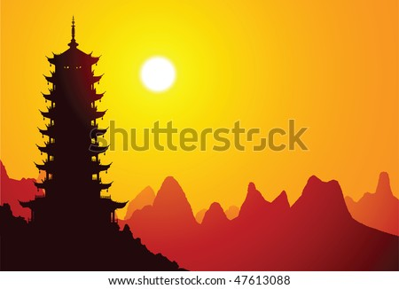 Chinese pagoda with mountains on the background - stock vector