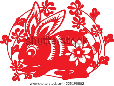 chinese paper cutting : Rabbit