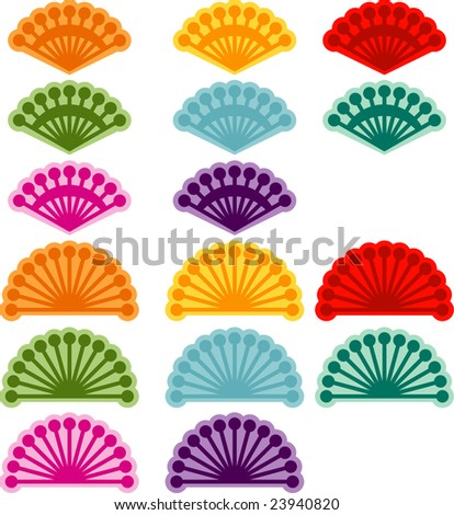 Chinese Fan Vector Chinese Paper Fan in Many