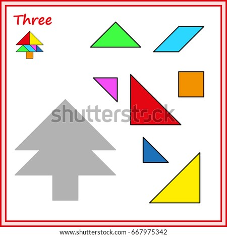 Chinese Puzzle Tangram Cut Glue Vector Stock Vector 2018 667975342