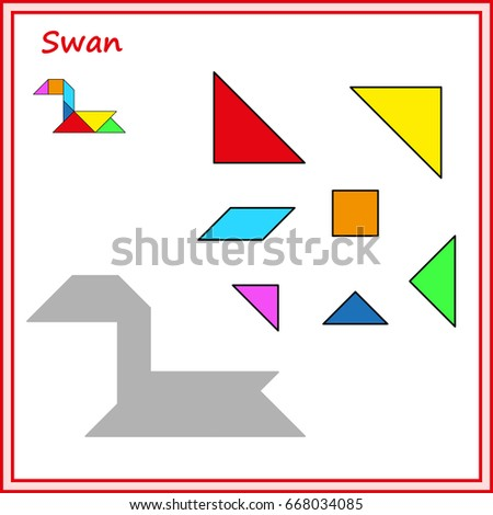 Chinese Puzzle Tangram Cut Glue Vector Stock Vector 668034085