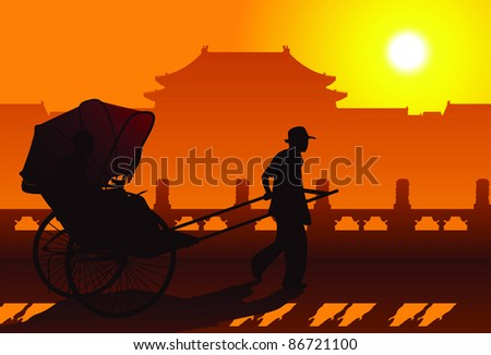 Chinese rickshaw in old Beijing - stock vector