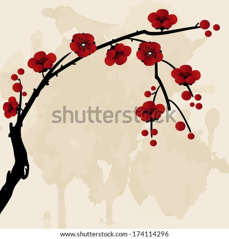 Chinese sakura plum blossom grunge spring  vector background - stock vector