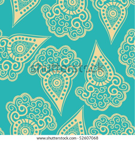 Chinese seamless pattern with paisley. - stock vector