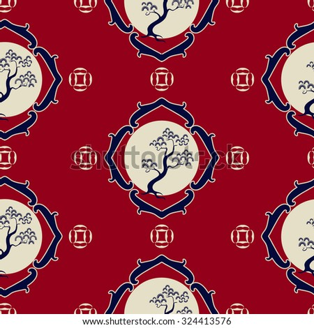 Chinese seamless pattern with pine trees in frame on a red background. It can be used for fabric, wallpaper, wrapping paper.