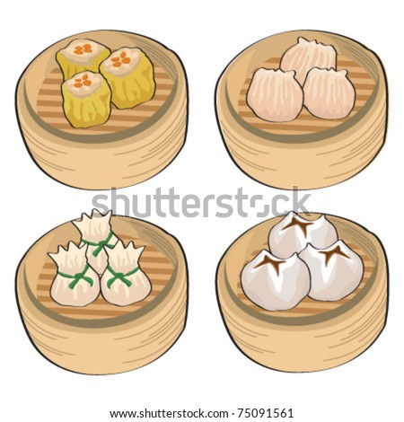 Chinese steamed dim sum - stock vector