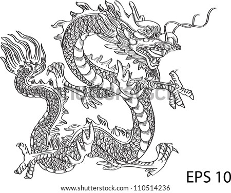 Chinese style dragon statue vector line, EPS 10 - stock vector