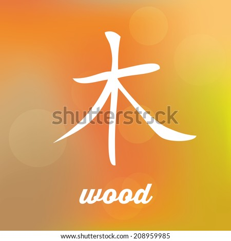Chinese Symbol Five Elements Calligraphy Wood Stock Vector Royalty