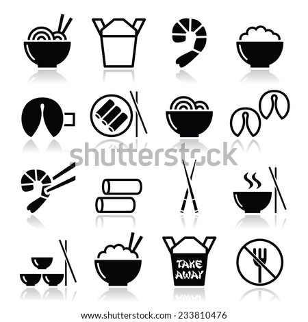 Chinese take away food icons - pasta, rice, spring rolls, fortune cookies  - stock vector