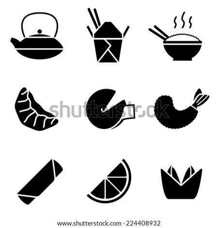 Chinese Take-out Icons - stock vector