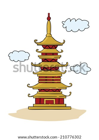 Chinese Temple Pagoda - stock vector