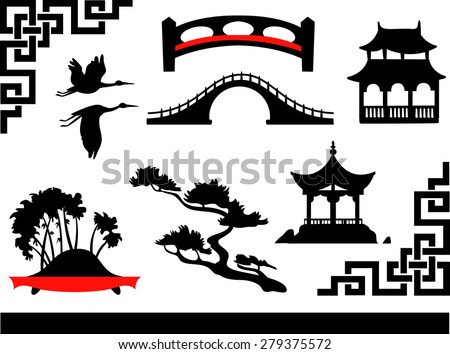Chinese theme icons set - stock vector