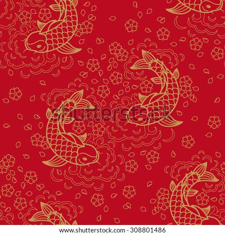 Chinese vector seamless pattern with Koi Fish - stock vector
