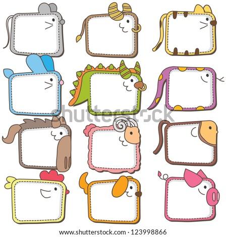Chinese zodiac animal frames - stock vector