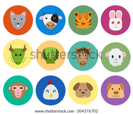 Chinese zodiac 12 animal icon in cute and simple flat style. isolated vector object. - stock vector