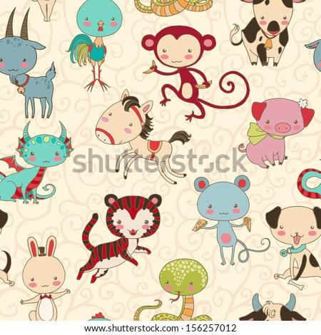 Chinese zodiac animals vector seamless pattern. - stock vector