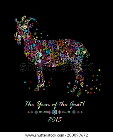 Chinese Zodiac. Chinese Animal astrological sign, goat. Symbol of 2015 Year. Vector Illustration. - stock vector