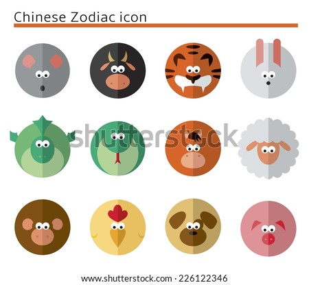 Chinese Zodiac icon set in circles - stock vector