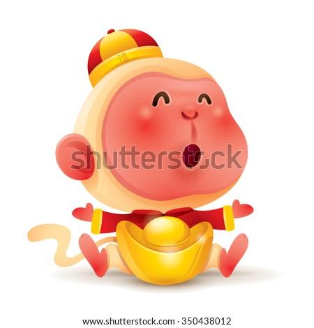 Chinese Zodiac - Monkey. Chinese New Year. Monkey with chinese gold. - stock vector