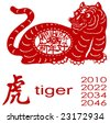 Chinese Zodiac of Tiger Year. Three Chinese characters on the tiger's body mean happy new year, it sounds like SHEEN NANE HOW in Chinese, and tiger is pronounced LAU HOO in Chinese. - stock vector