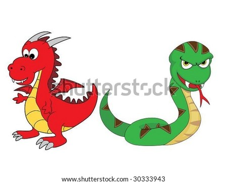 Chinese Zodiac Set 3 : Dragon And Snake - stock vector