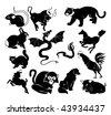 chinese zodiac symbols - stock vector
