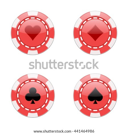 Chips for poker. Colored chips with signs hearts, diamonds, clubs, spades. Isolated vector illustration on white background.