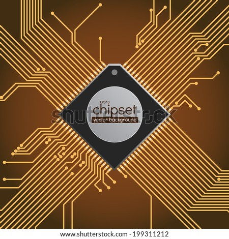 Chipset circuit vector background - stock vector