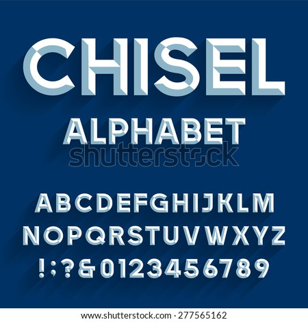Chiseled Alphabet Vector Font. Type letters, numbers and punctuation marks. Chiseled block letters on the blue background. - stock vector