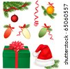 Chistmas bows with ribbons and Santa hat and tree branches. Vector. - stock vector