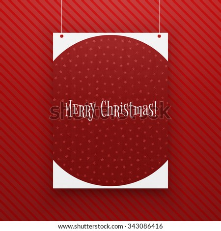 Chistmas paper Page hanging against red Background. Realistic vector Poster Mockup - stock vector