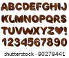 Chocolate alphabet - stock vector