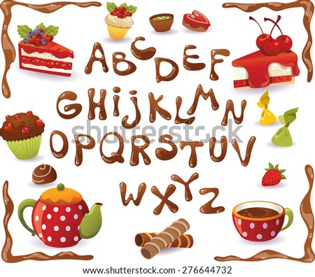 Chocolate Alphabet and sweet food, isolated on white background - stock vector