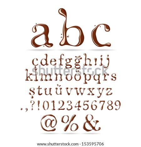 Chocolate Alphabet Lower Case - stock vector