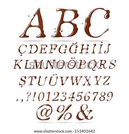Chocolate Alphabet Upper Case Italic - stock vector