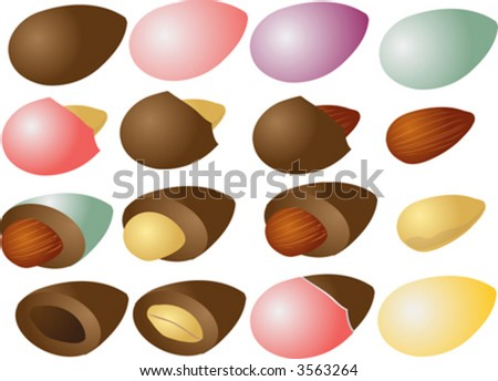 Chocolate and candy coated almond nuts, isometric 3d illustration